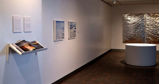 installation view of emergence exhibition with book