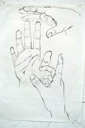hand studies with line weight
