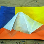still life painting of coloured paper2