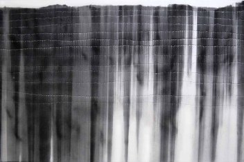 Gravity Drop - Legato, charcoal and holes on museum board, 40 x 60 inches, 2011