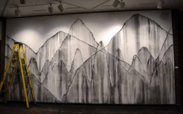 Danse Macabre for Gordana, wall drawing, 11 feet tall x 20 feet wide, 2012