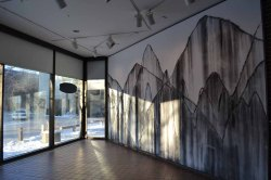 Installation view of Danse Macabre for Gordana, wall drawing, 11 feet tall x 20 feet wide, 2012