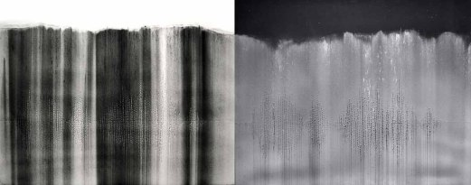 Gravity Drop Diptych, charcoal and holes on museum board, 20 x 60 inches