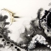 Pins and Needles, enamel, ink, burns and pencil on canvas, 18 x 36 inches, 2008