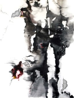 Red Sprite, mixed media on canvas, 40 x 30 inches, 2010