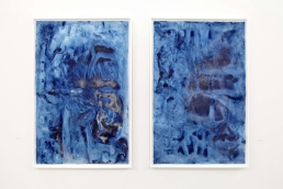 """Frost Garden I & II, installed in """"...Landscape"""" exhibition at dc3 Art Projects, February & March 2014 (each panel measures 4 feet wide x 6 feet tall, unframed)"""