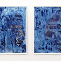 "Frost Garden I & II, installed in ""...Landscape"" exhibition at dc3 Art Projects, February & March 2014 (each panel measures 4 feet wide x 6 feet tall, unframed)"