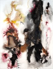Firefall, ink, gouache, pencil and burns on paper, 30 x 22 inches, 2010