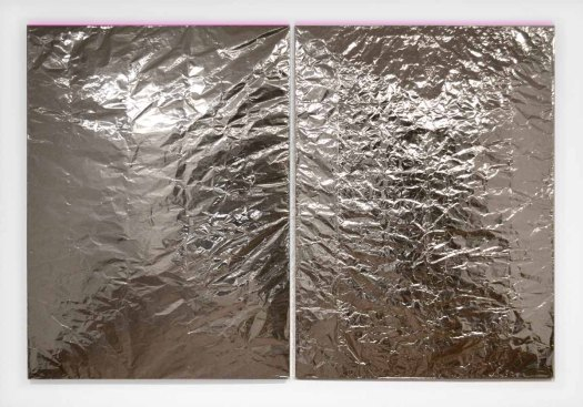 Optical Vibration (diptych), aluminum foil, wood, acrylic paint, case fans, batteries and switches, 72 x 54 each panel, 2012