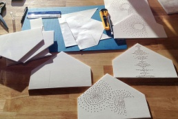 Scale design maquettes for Dispersion, wall installation at 66B Project, March 2014