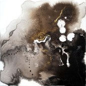 Jet Airliner, enamel, ink, burns and gold fusing dust on canvas, 12 x 12 inches, 2009
