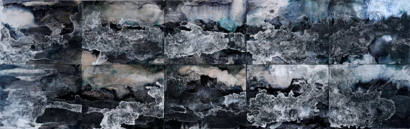 Blue Mountain Series, silver leaf, ink, acrylic and salt on panel, 8 x 10 inches each (shown in a grid of all 10 works), 2015