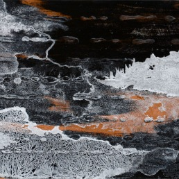 Floating World Series, metal leaf (copper or silver), ink, acrylic and salt on panel, 11 x 14 inches, 2015