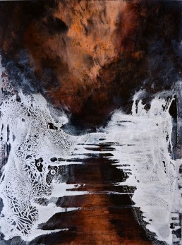 Highway of Fire, copper leaf, ink, acrylic and salt on panel, 18 x 24 inches, 2015