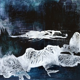 Vanishing Waters Series, silver leaf, ink, acrylic and salt on panel, 16 x 20 inches, 2015