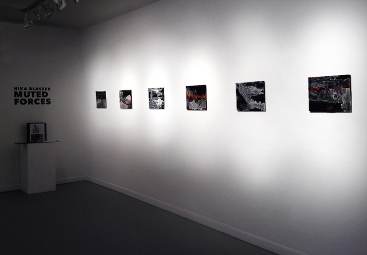 Installation view of Floating World Series in Muted Forces exhibition